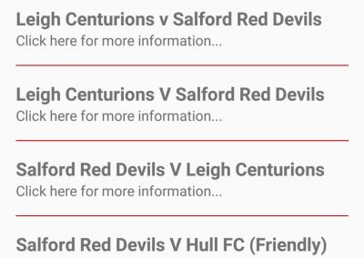 Fixtures and Results Feature